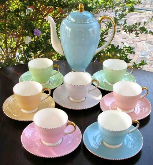Wedgewood tea set...  See the Steeped Tea cups and saucers in similar colors -- and the cups are heart-shaped!