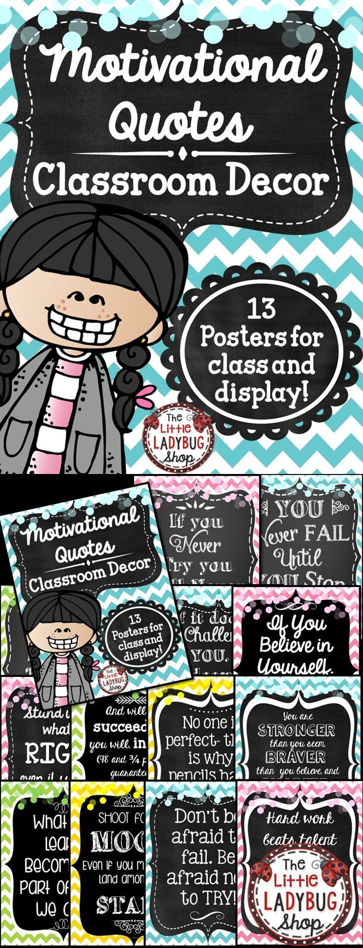Class Decor: Motivational Posters {Colorful Chevron and Chalkboard Theme} | Motivational Quotes | Class Decor | Pastel Chevron | Chalkboard Decor   Motivational Posters can be so inspiring to students! Hang these beautiful Colorful Chevron and Chalkboard Posters in your room! They are classy and simple that they compliment MANY classroom themes! These are perfect for laminating and hanging all year on your bulletin boards or class door! Match up with another color and it works perfectly!