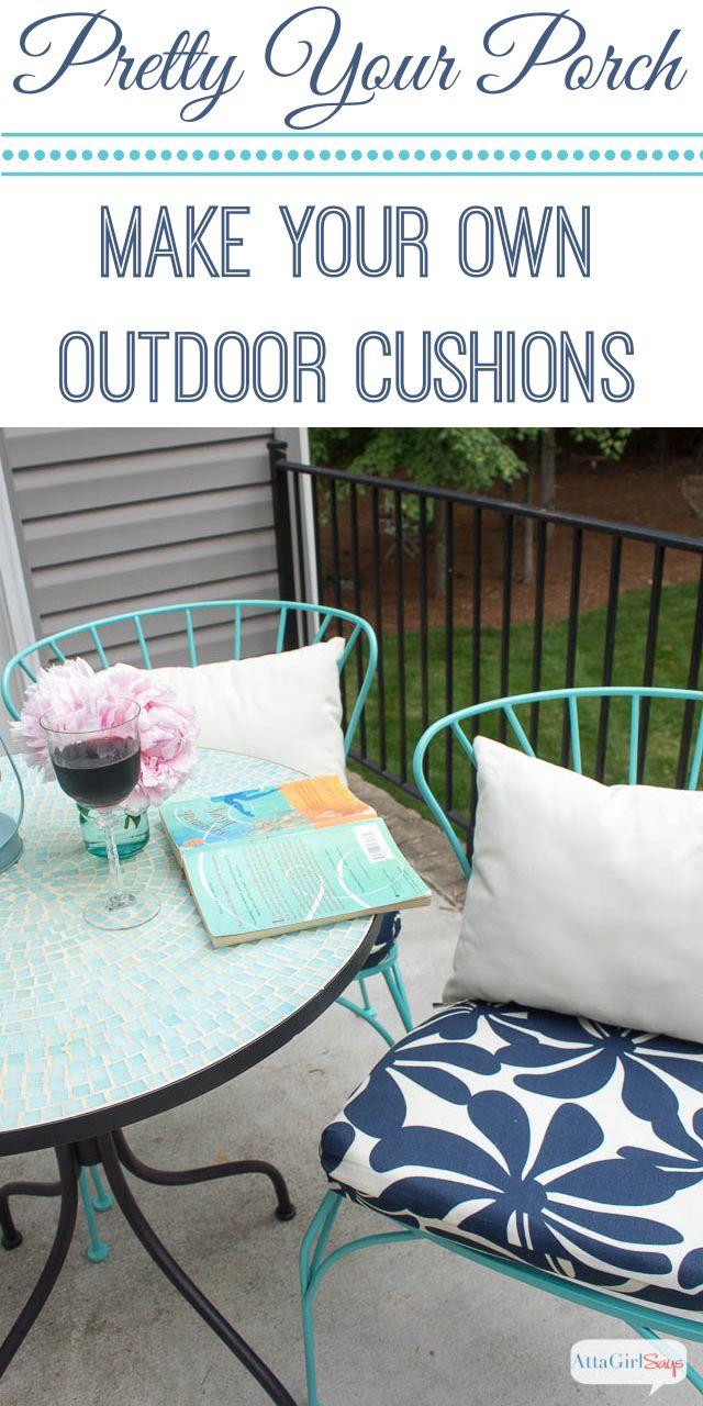 Atta Girl Says   Porch Makeover Progress: DIY Outdoor Chair Cushions   http://www.attagirlsays.com