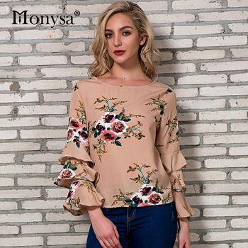 acf69f3751f6f2 Floral Print Blouses Women Summer 2018 New Arrivals Flare Long Sleeve Chiffon  Tops Ladies Ruffle Casual Blouse blusa feminina