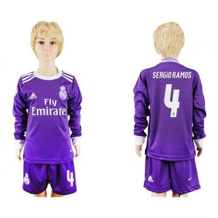 Real Madrid Trøje Børn 16-17 #Sergio Ramos 4 Udebanetrøje Lange ærmer.222,01KR.shirtshopservice@gmail.com