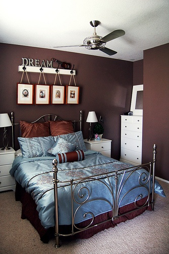 Beautiful Blue U0026 Brown Bedroom U003c3