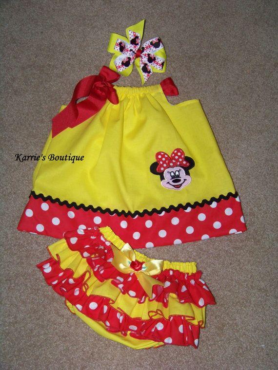 3 pcs Minnie Mouse Set  Pillowcase Dress  by KarriesBoutique, $59.95