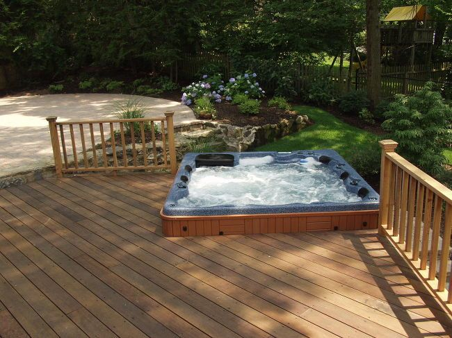 Best 25 mahogany decking ideas on pinterest retractable for Spa patio designs