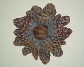 Light grey felt flower brooch with swede lace