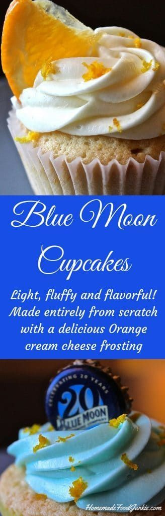 Blue Moon Cupcakes with Orange Cream Cheese Frosting http://homemadefoodjunkie.com #gamedayfood #cupcakes #bluemooncupckes #beercupcakesrecipe #dessert  #desserttable #dessertrecipes #partyfood #yummytreats #yummy
