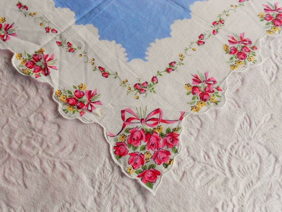 Darling vintage handkerchief Gorgeous Cotton print hanky with blue center, a trellis of roses and pink and yellow rose bouquets. Lovely hand