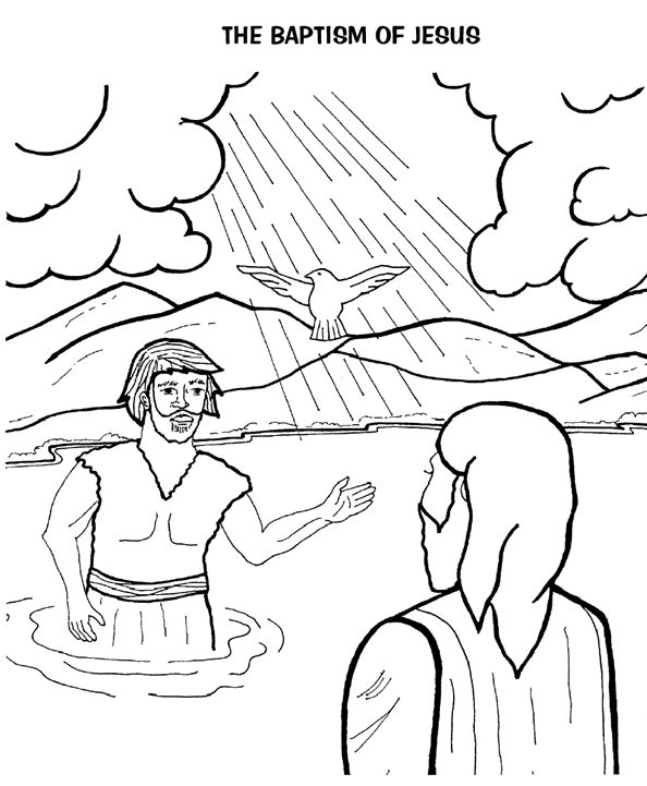 baptism of jesus coloring page - Jesus Baptism Coloring Page