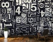 Old Metal Numbers mural wallpaper kitchen preview