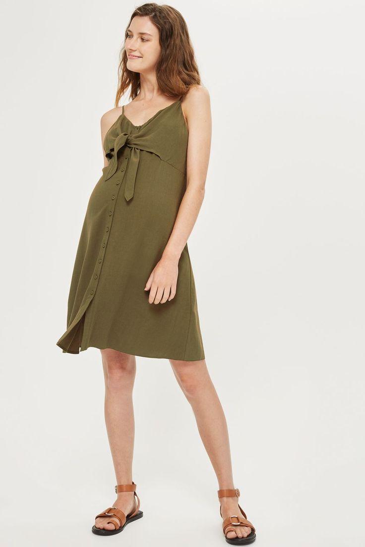MATERNITY Knot Front Mini Slip Dress
