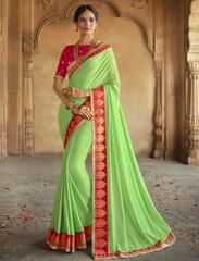 Green Color Wrinkle Chiffon Designer Party Wear Sarees : Kesrani Collection YF-64641
