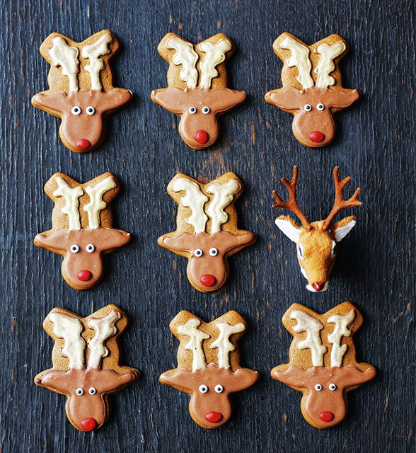 Genius! Turn your gingerbread cutter upside-down to make these reindeer biscuits by Mima Sinclair, from her book Gingerbread Wonderland