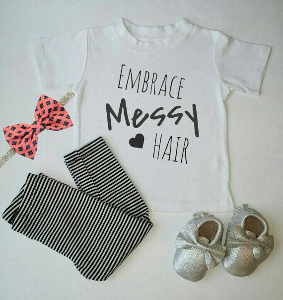 Embrac Messy Hair Shirt Kids shirts Handmade by WanderingLittles.