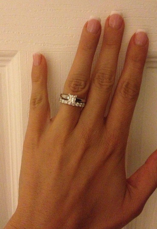 My Leo Diamond Set 1 Carat Princess Cut Solitaire And Eight Stone Wedding Band
