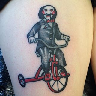 Billy, the puppet from Saw | 37 Incredible Horror Movie Tattoos That'll Give You Nightmares