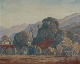 Artwork by Jacob Hendrik Pierneef, LANDSCAPE WITH TREES IN A MOUNTAINOUS SETTING, Made of oil on canvas