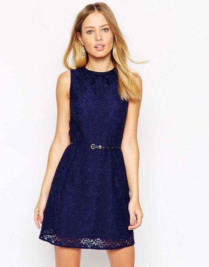 Oasis V Neck Lace Shift Dress