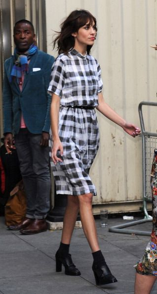 Alexa Chung wearing a gorgeous plaid shirt dress
