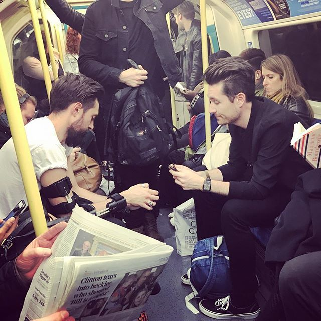 my Instagram followers must be bored by pics of various artists on stage ...here's a memory of tonight, Bastille keeping it real on the tube out to The O2 after scoping a Q Award ...respect working with these dudes