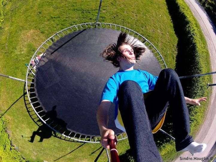 """Trampoline fun with GoPro user Sindre """"Hangloose"""" Hauglin! Not GoPro in his shadow. 22 Crazy Perspective Photos Taken With a GoPro Camera - My Modern Metropolis"""
