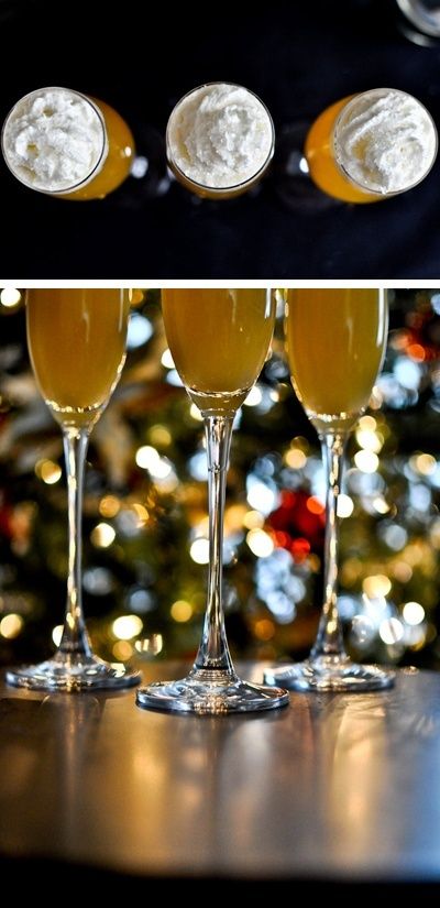 creamsicle mimosas    3/4 cup orange juice    2 ounces marshmallow vodka    1 bottle of champagne (you will have some left over)    whipped cream   crystal sprinkles for garnish    Combine orange juice and vodka into a measure cup. Pour about 1/4 of a cup into each glass, then fill the remaining space with champagne. Top with a squirt of whipped cr