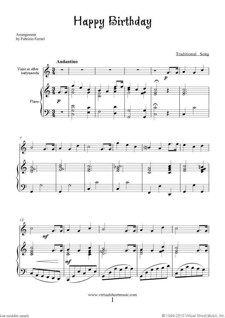 Free Happy Birthday Sheet Music For Piano Voice Or Other