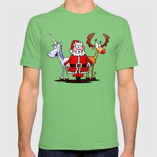 Santa Claus, his reindeer and a unicorn T-shirt.    #Christmas #Santa #unicorn #Tshirt @society6 #NEW