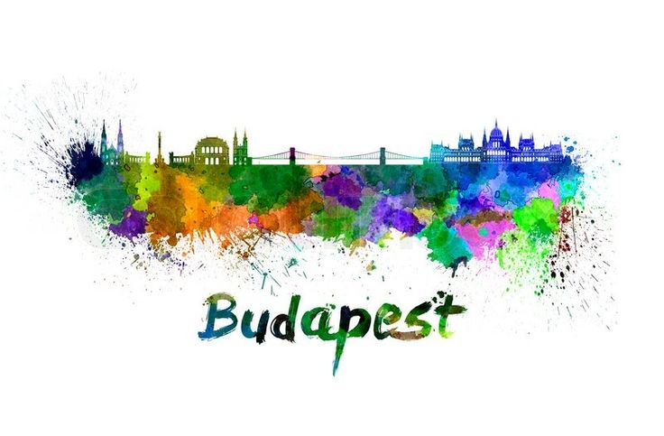 Budapest skyline in watercolor splatters with clipping path ...