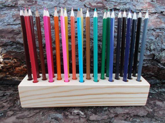 Wooden pencil holder Pen holder desk accessory by WoodpeckerLG