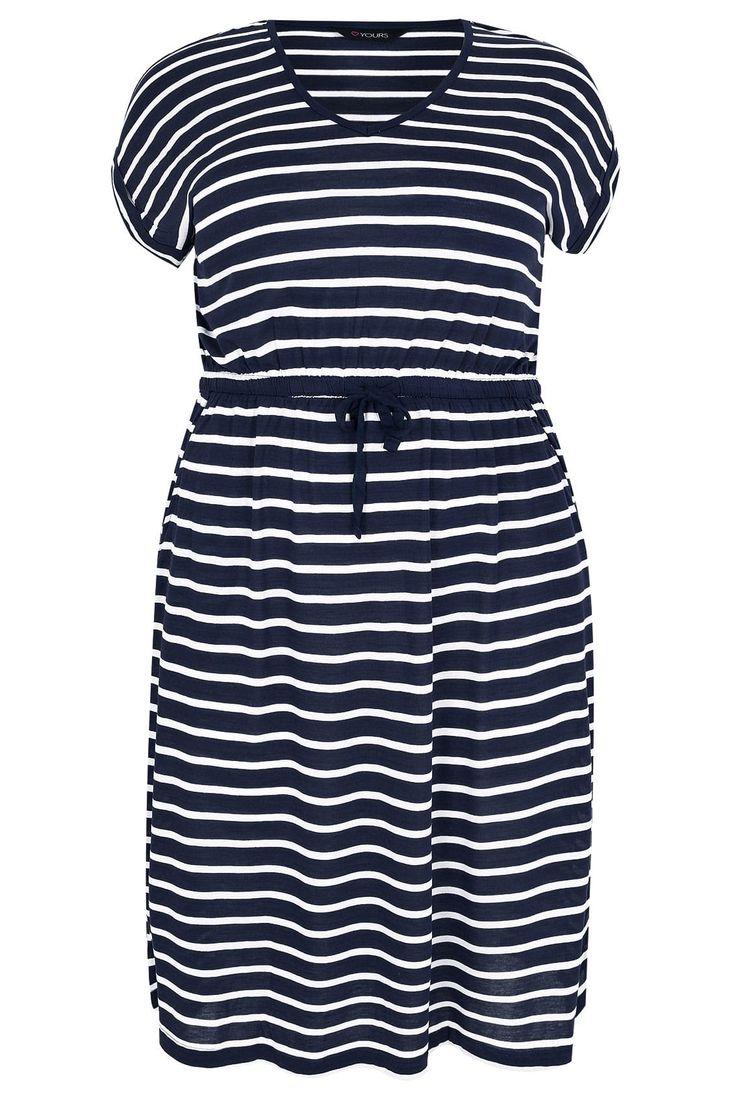Navy & White Stripe T-Shirt Dress With Pockets & Elasticated Waistband