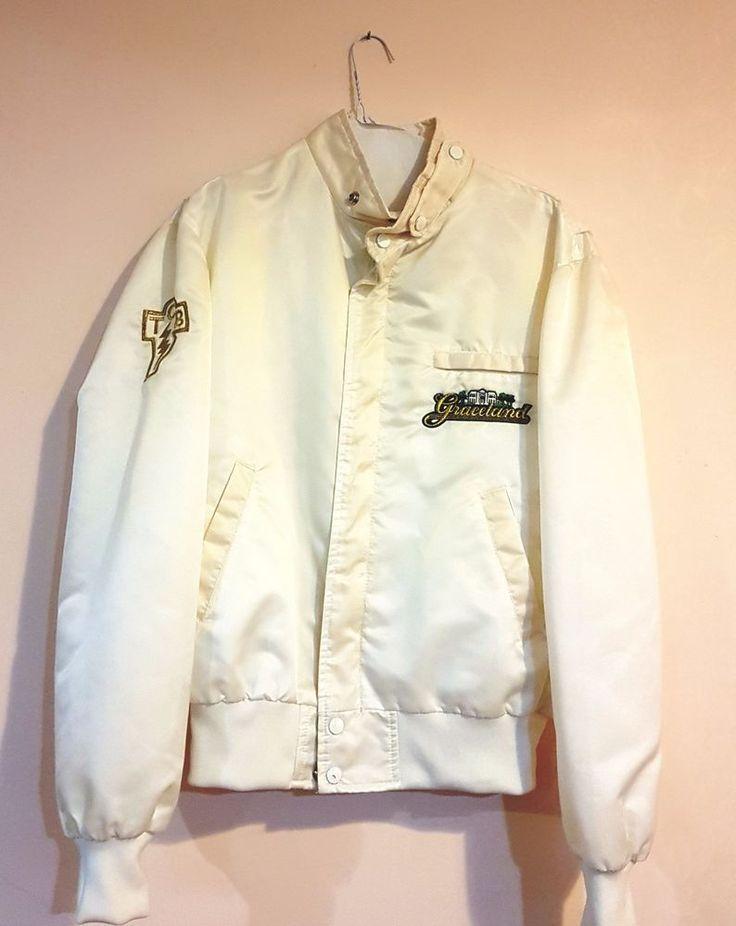 Vintage Elvis Presley TCB Jacket White Taking Care Of Business Nylon 1980s | eBay