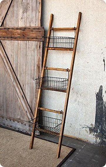 blanket ladder with wire baskets