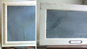 Pintura de pizarra en aerosol + viejos marcos de cuadros o ventanas