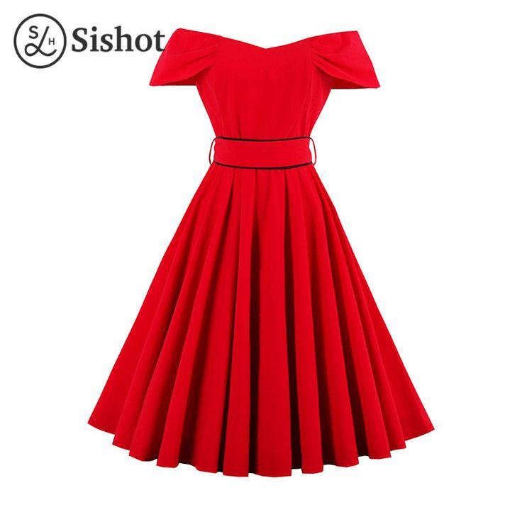 Sishot 2017 лето весна женщины старинные платья красного пояса до колен партия dress линии слэш шеи с коротким рукавом hot ретро dress купить на AliExpress