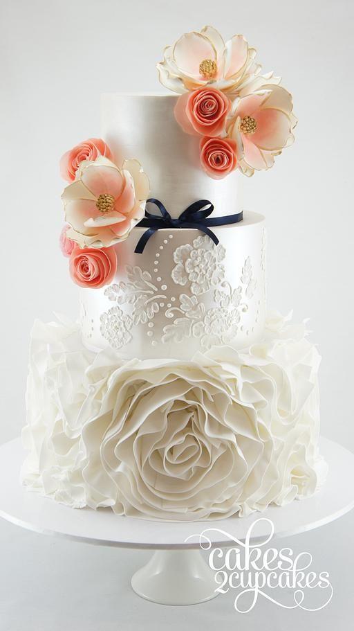 we ❤ this!  moncheribridals.com  #weddingcakes #whiteweddingcakes