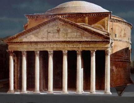 """El Panteón fue mandado a construir por Agripa en el año 27 a.C. Como señala su mismo nombre (""""panteón"""" etimológicamente significa en griego """""""