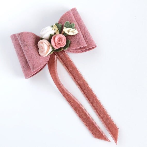 Pair yellow felt rose clips velvet bow toddler girl baby barrette