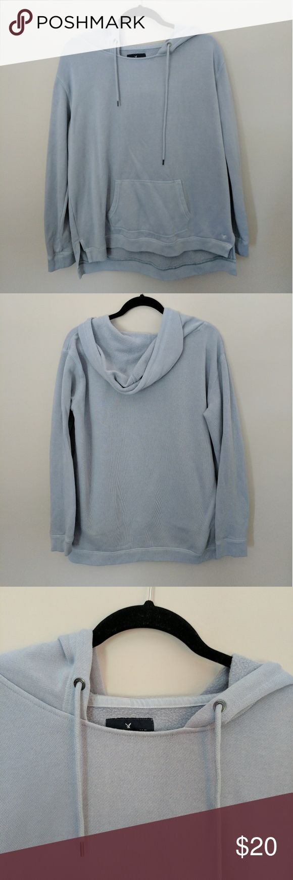 American Eagle Sweatshirt American Eagle sweatshirt in pale blue. Worn once, in new condition. American Eagle Outfitters Tops Sweatshirts & Hoodies