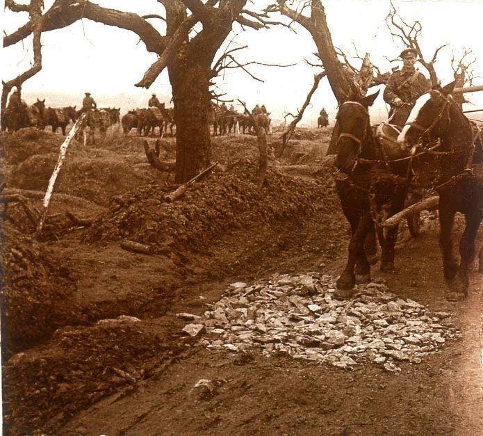 WWI, Guillemont, Somme; English artillery
