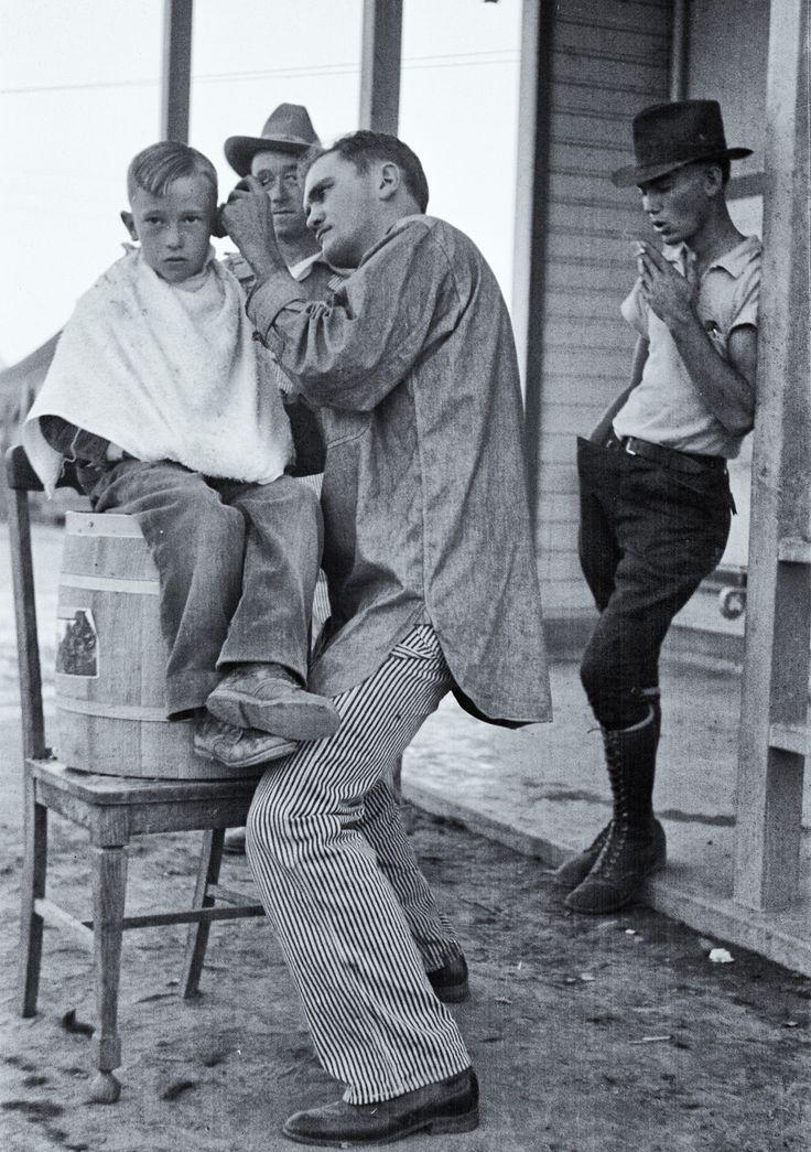 Dorothea Lange :: Community barber shop in Kern County migrant camp, California, November 1936