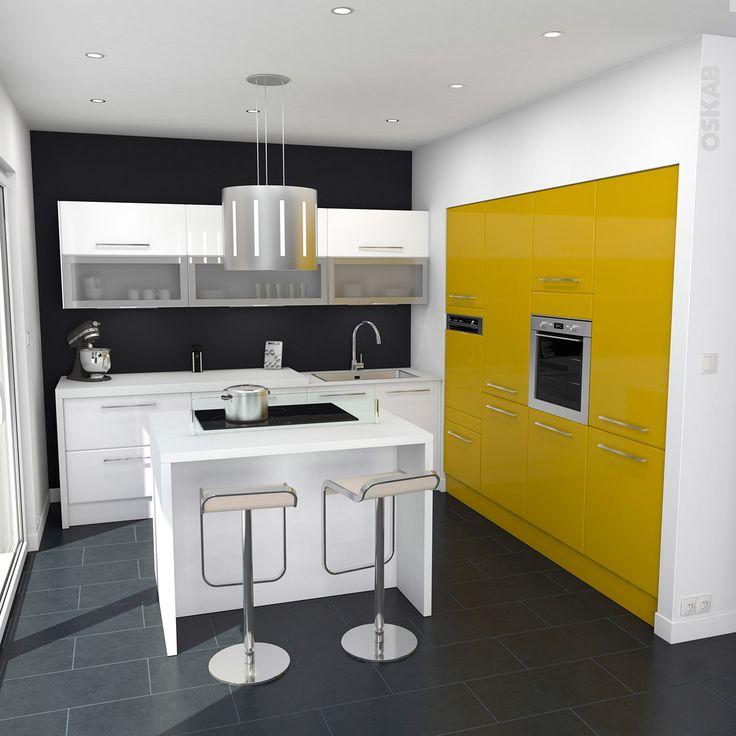 Cuisine ouverte pop blanche et jaune brillante meubles - Implantation cuisine ouverte ...