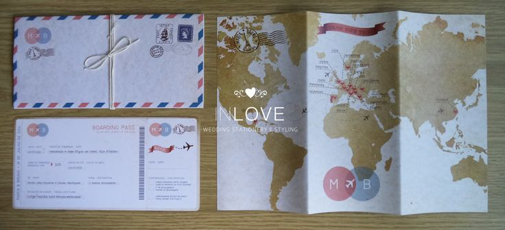"{ M & B Travelling inspired invitations } Boarding pass c/ destacável /// mapa mundo c/ croqui /// envelope ""air mail"""