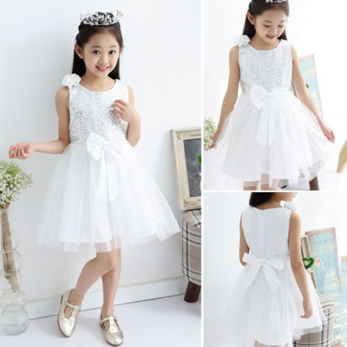 1-Girl-Kid-Pageant-Sequin-Beaded-Shoulder-Flower-Bow-Bridesmaid-Princess-Dress