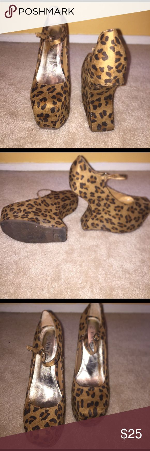 Lady gag cheetah wedges! 🖤 Size 8 🖤 Cheetah print, lady Gaga inspired wedge heels! No box! No trades! Only worn once! Shoes Wedges