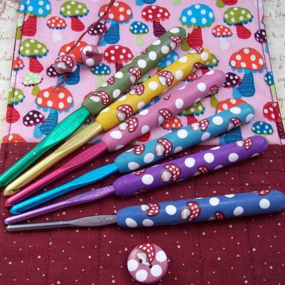 Crochet Hook Case with Set of Susan Bates Crochet Hooks, Handmade with Polymer Clay on Etsy, $78.00