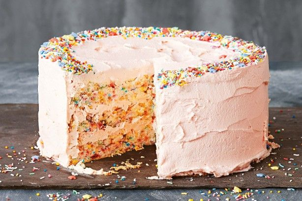 Ramp up the fun with this sprinkle-licious angel food cake slathered in vanilla buttercream frosting.