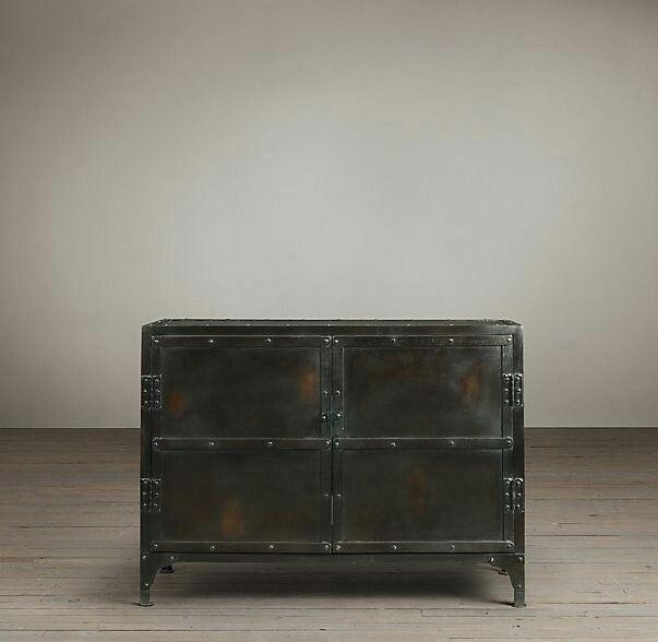 Metal industrial living room cabinet