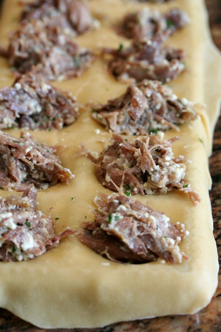 Duck Confit Ravioli  http://www.mrduck.co.uk/shop/Our-Products/MrDucks-Delicacies/duck-meat-for-sandwich-or-pie/