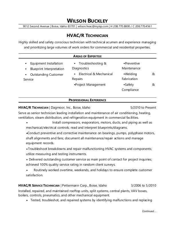 Hvac Technician Resume Sample Monster In 2020 Hvac Technician Resume Examples Resume Skills