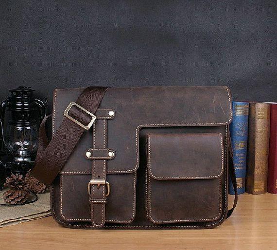 leather messenger bag / Leather satchel/ handmade by QandJstudio